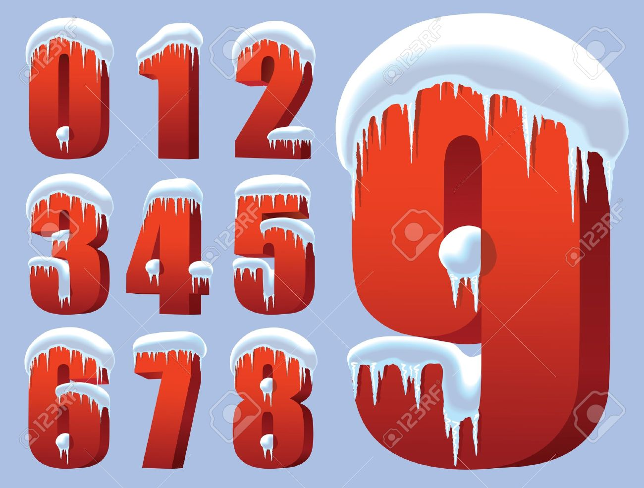 15770402-Collection-of-ten-red-numbers-under-snow-Stock-Vector-number-snow-cartoon